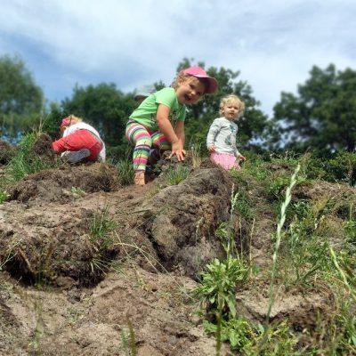 Kleinkinder erklimmen einen Matschberg