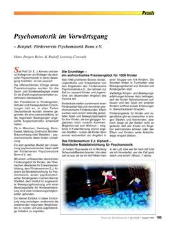 Psychomotorik im Vorwärtsgang – Beispiel: Förderverein Psychomotorik e.V. Bonn - Hans Jürgen Beins & Rudolf Lensing-Conrady