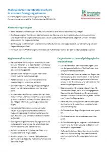 Maßnahmen zum Infektionsschutz in unseren Förderzentren